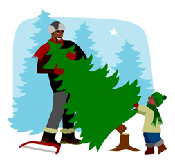 Illustration of Father and Son Cutting a Christmas Tree