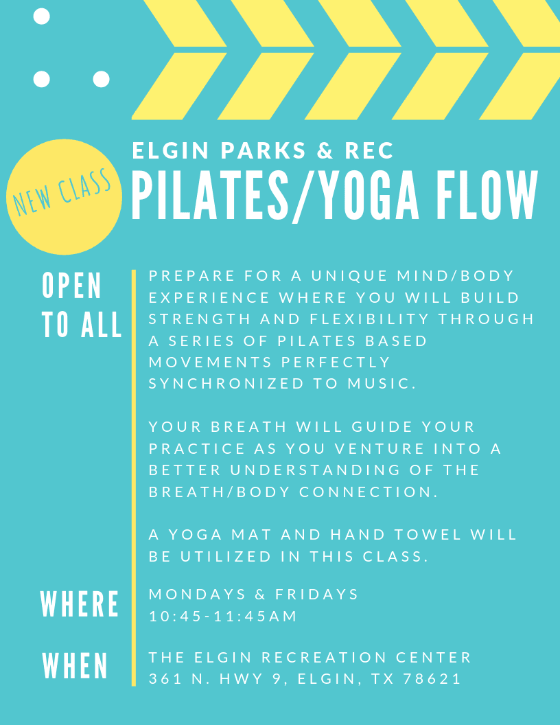 pilates and flow yoga class advertisement